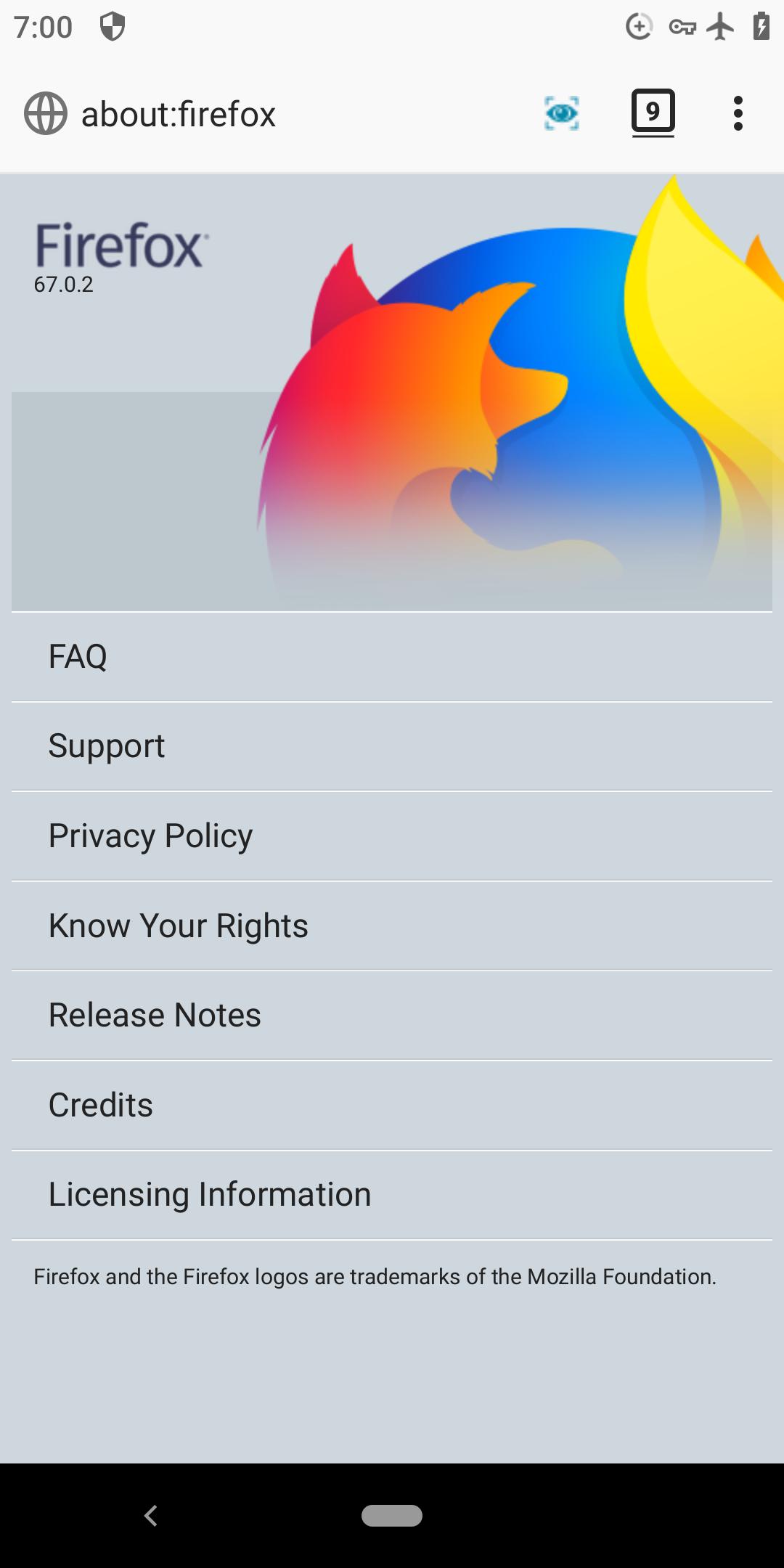 Firefox Klar, IceCatMobile, Fennec F-Droid and Android Firefox ESR