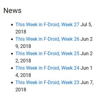 """Screenshot of F-Droid front page """"news"""" section containing only TWIF items"""